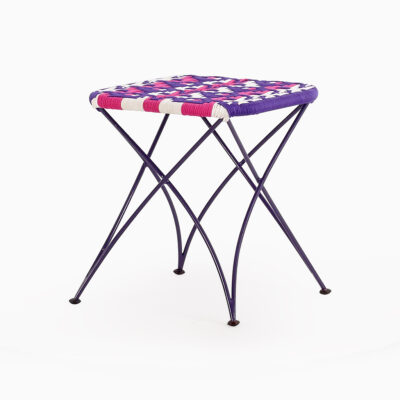 Agra Square Rattan Stool - Multistrips Purple | Agra Square Wicker Stools | Agra rattan purple