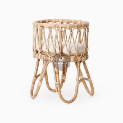 Masha-Doll-Bassinet-with-Cushion-1 | Natural Rattan kid's Furniture