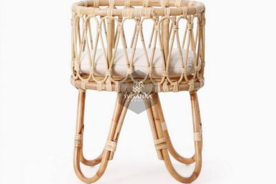 Masha-Doll-Bassinet-with-cushion-2 | Natural Rattan kid's Furniture