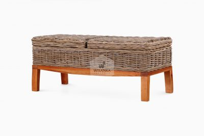 Bench add with 2 trunks | Natural Rattan Bench | rattan Bench | Wooden Bench
