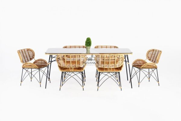 Noura Dining Set | Indonesia Natural Rattan | Natural Rattan | Indonesia Rattan | Rattan Dining Set | Dining Furniture Rattan