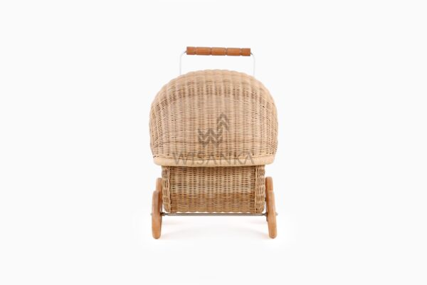 Doll Pram Jess Natural Rattan kid's furniture Rear View