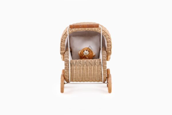 Doll Pram Jess Natural Rattan kid's furniture Front View