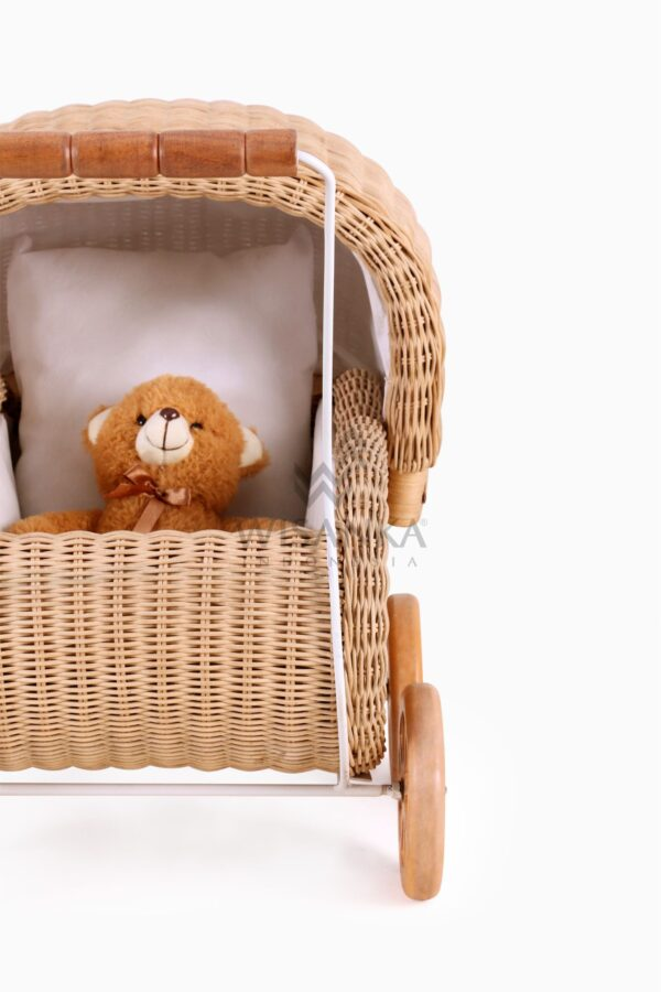 Doll Pram Jess Natural Rattan kid's furniture Front Detail View