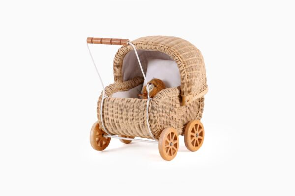 Doll Pram Jess Natural Rattan kid's furniture perspective View