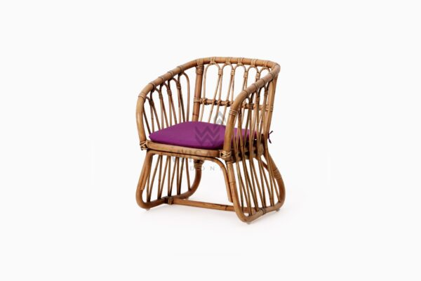 Fly Kid's Natural Rattan Chair with Cushion perspective