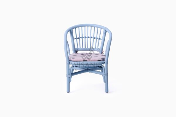 Jimmy Blue Kid's Natural Rattan Chair With Cushion front