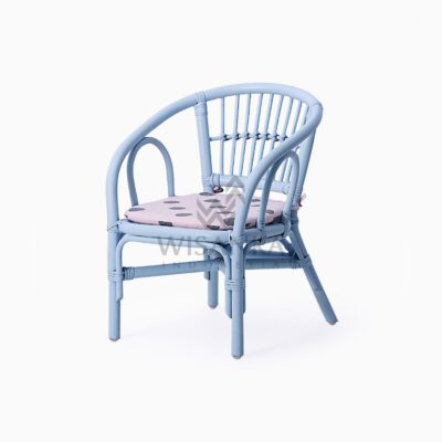 Jimmy Blue Kid's Natural Rattan Chair With Cushion perspective