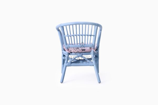 Jimmy Blue Kid's Natural Rattan Chair With Cushion rear