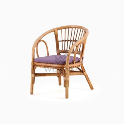 Jimmy Kid's Chair Natural Rattan with cushion perspective