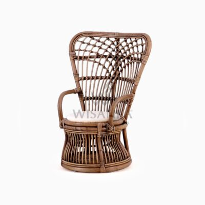 Tiara Kid's Wicker Rattan Arm Chair With Cushion front