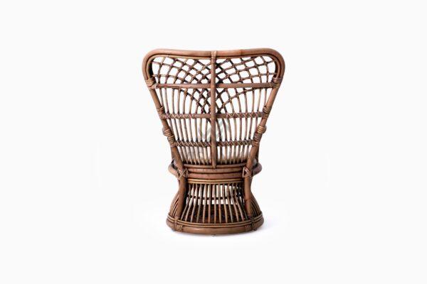 Tiara Kid's Wicker Rattan Arm Chair With Cushion rear