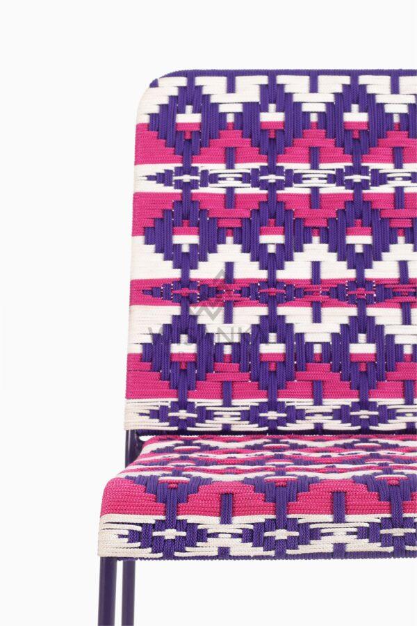 Kora Bohemian wicker Dining Chair - Multistrips Indoor Purple Detail 1