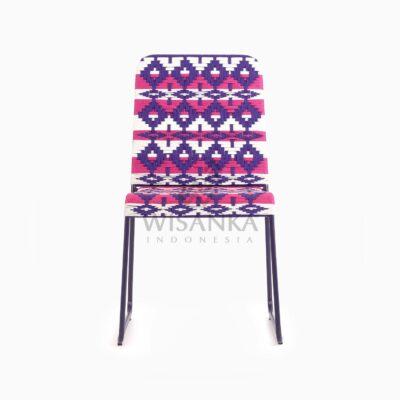 Kora Bohemian wicker Dining Chair - Multistrips Indoor Purple front
