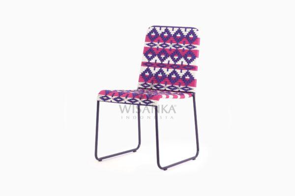 Kora Bohemian wicker Dining Chair - Multistrips Indoor Purple perspective