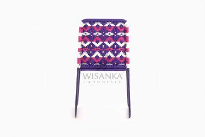 Kora Bohemian wicker Dining Chair - Multistrips Indoor Purple rear