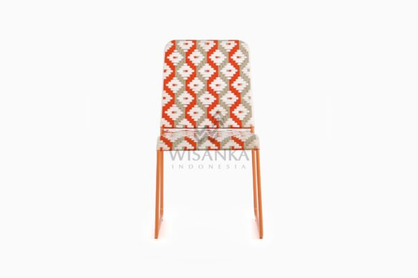 Kora Bohemian Dining Chair - Multistrips Indoor Orange front