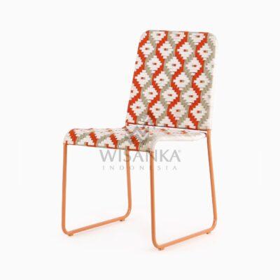 Kora Bohemian Dining Chair - Multistrips Indoor Orange perspective