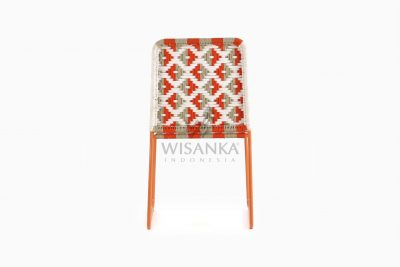 Kora Bohemian Dining Chair - Multistrips Indoor Orange rear