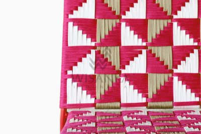 Kora Wicker Dining Chair - Multistrips Indoor Pink Detail 1