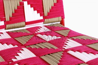 Kora Wicker Dining Chair - Multistrips Indoor Pink Detail 2