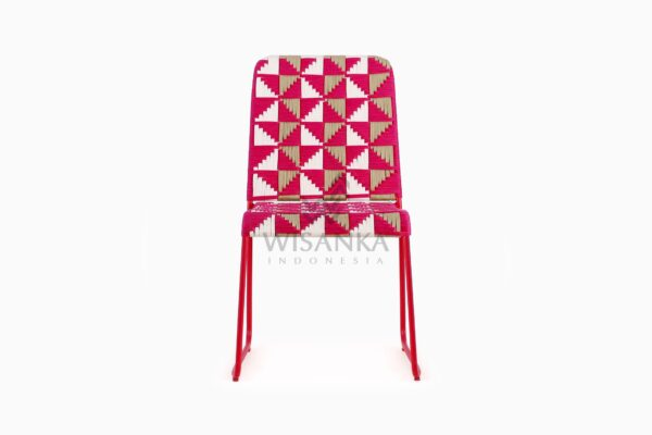 Kora Wicker Dining Chair - Multistrips Indoor Pink front