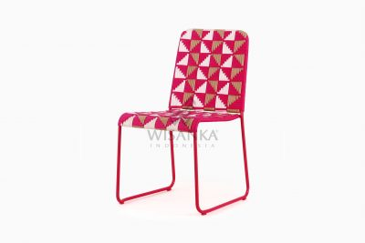 Kora Wicker Dining Chair - Multistrips Indoor Pink perspective