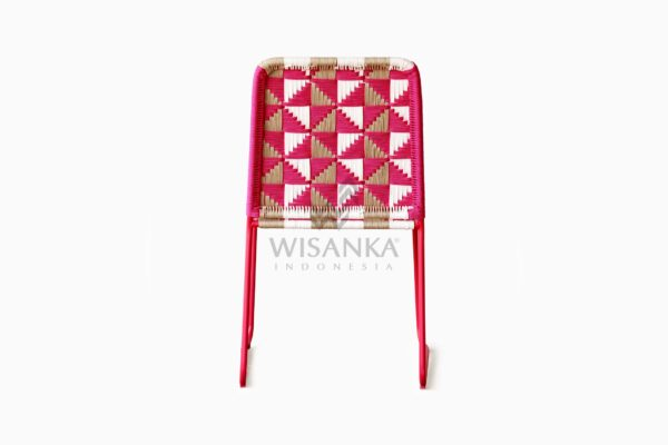 Kora Wicker Dining Chair - Multistrips Indoor Pink rear