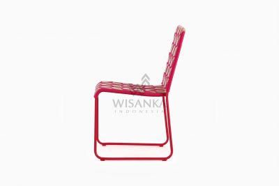 Kora Wicker Dining Chair - Multistrips Indoor Pink side