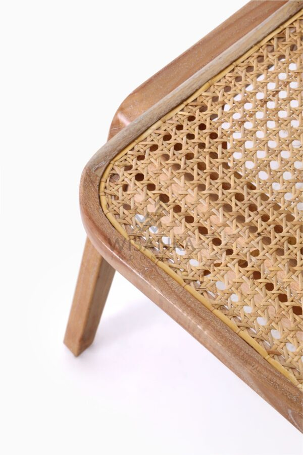 Oksana Wooden Rattan Wicker Arm Dining Chair Detail 1