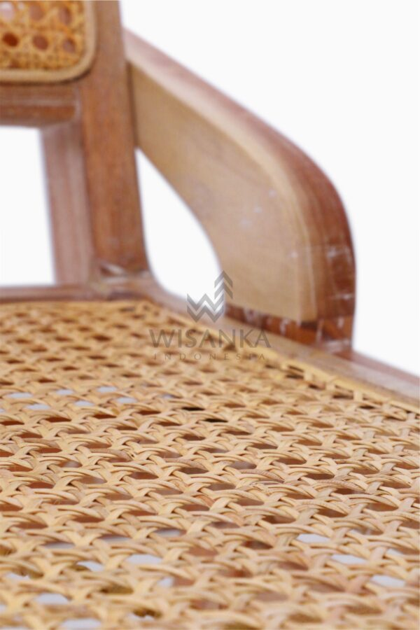 Oksana Wooden Rattan Wicker Arm Dining Chair Detail 2