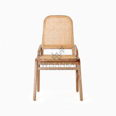 Oksana Wooden Rattan Wicker Arm Dining Chair front