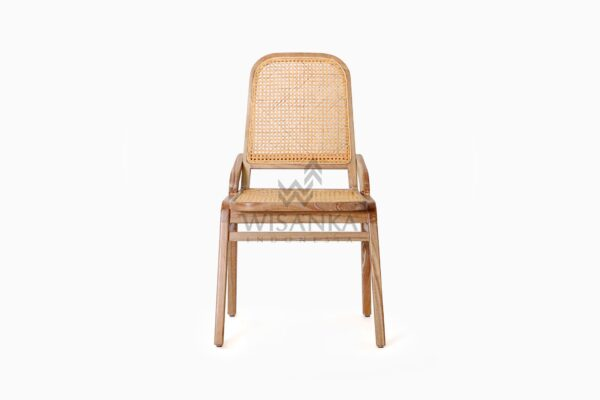Oksana Wooden Rattan Wicker Arm Dining Chair front
