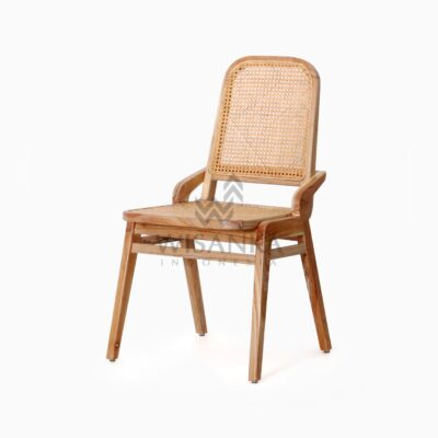 Oksana Wooden Rattan Wicker Arm Dining Chair perspective