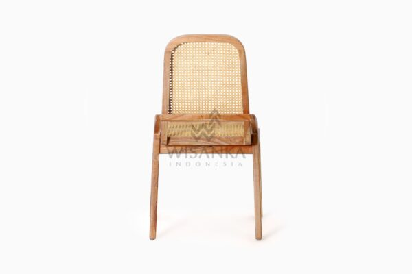 Oksana Wooden Rattan Wicker Arm Dining Chair rear