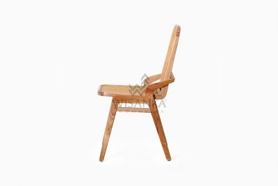 Oksana Wooden Rattan Wicker Arm Dining Chair side