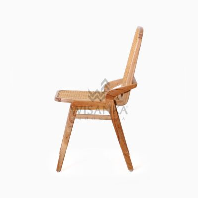 Oksana Wooden Rattan Wicker Arm Dining Chair side
