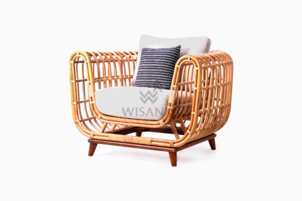 Siena wicker rattan natural 1 Seater Living Chair perspective