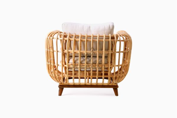 Siena wicker rattan natural 1 Seater Living Chair rear