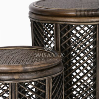 Asha Wicker Round Rattan Side Table Large & Small 2 in 1 Detail 1