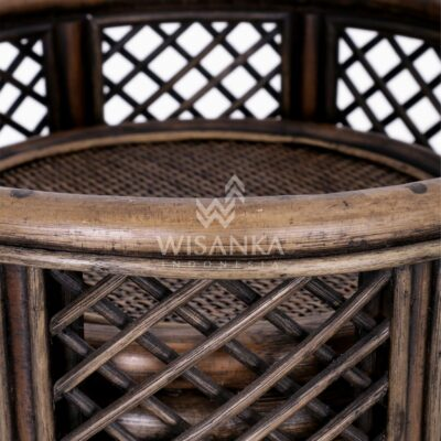 Asha Wicker Round Rattan Side Table Large & Small 2 in 1 Detail 2