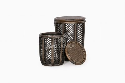 Asha Wicker Round Rattan Side Table Large & Small 2 in 1 View 2