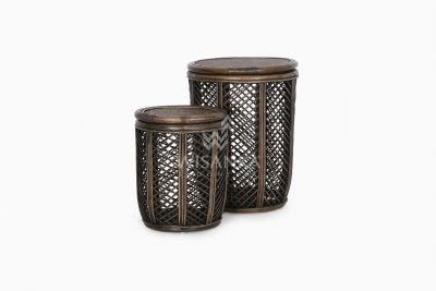 Asha Wicker Round Rattan Side Table Large & Small 2 in 1 view