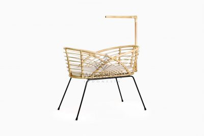 Catalena Wicker Rattan Bassinet with Cushion Perspective