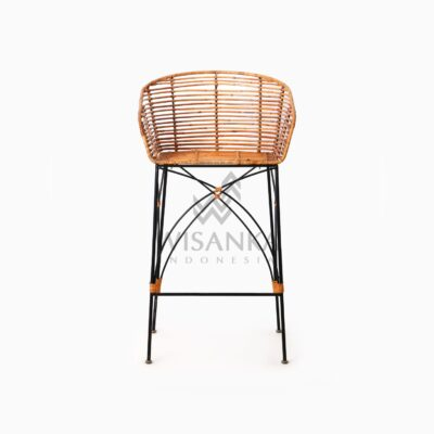 Chloe natural rattan wicker Bar Chair front