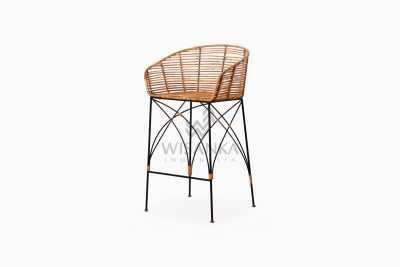 Chloe natural rattan wicker Bar Chair perspective