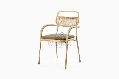 Akina Wicker Dining Arm Chair from Natural Rattan perspective