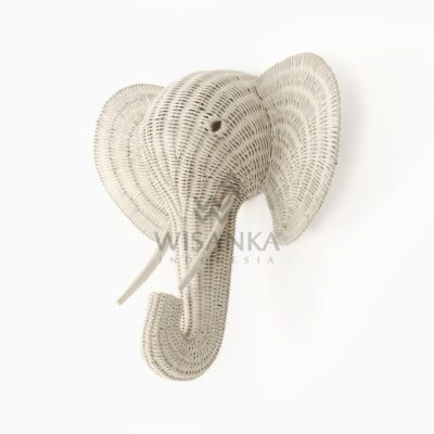 Elephant Head Rattan Wall Decor Kids Furniture White