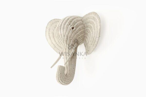Elephant Head Rattan Wall Decor Kids Furniture White
