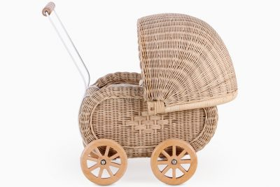 Jess Natural Rattan Pitrit Doll Pram side